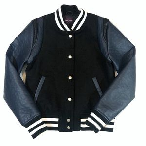 Vigoss Color Block Wool Blend Varsity Jacket